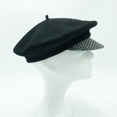 Béret casquette noir & pied de poule